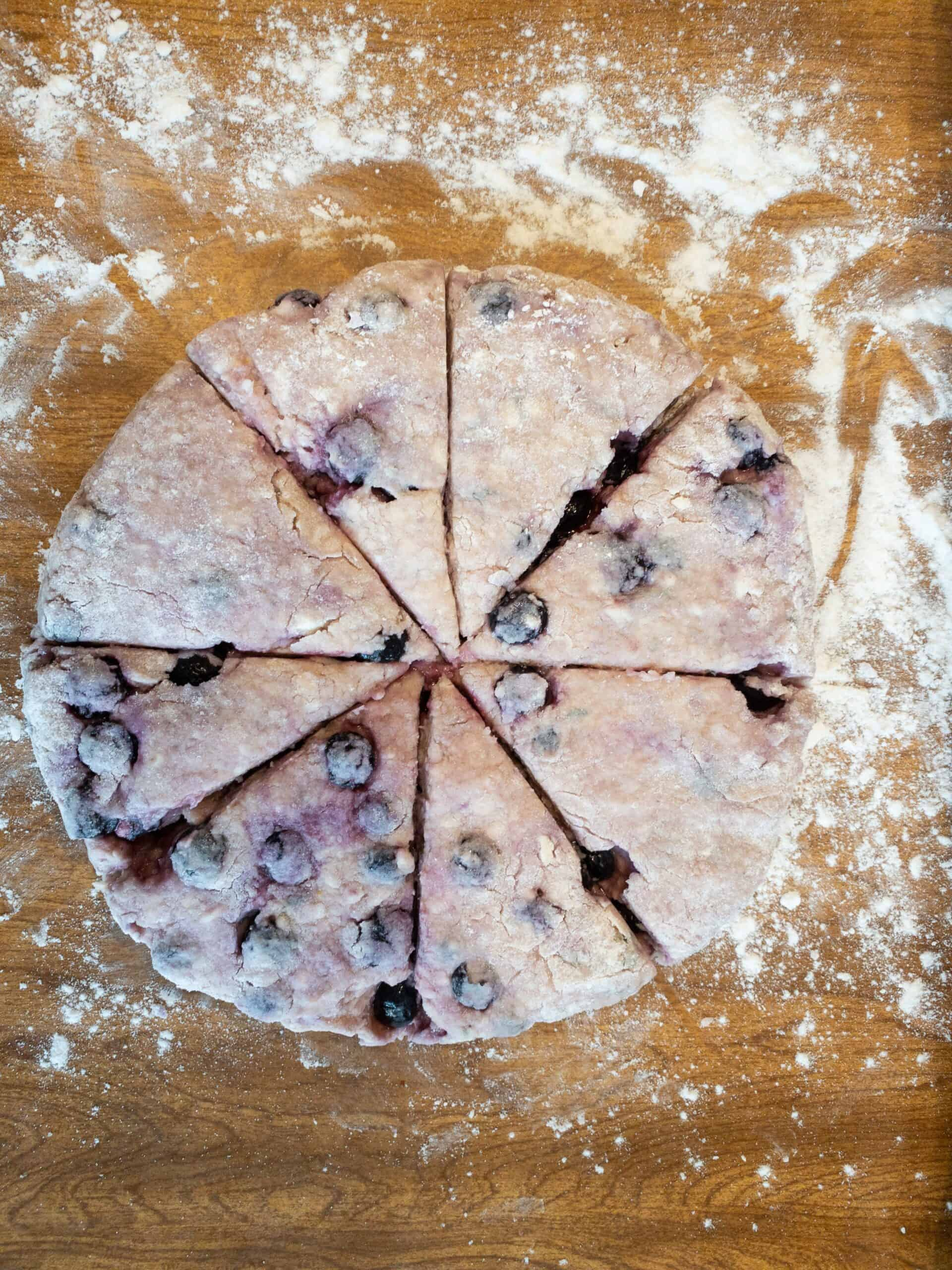 Cutting the Gluten Free Blueberry Scones with Lemon & Thyme