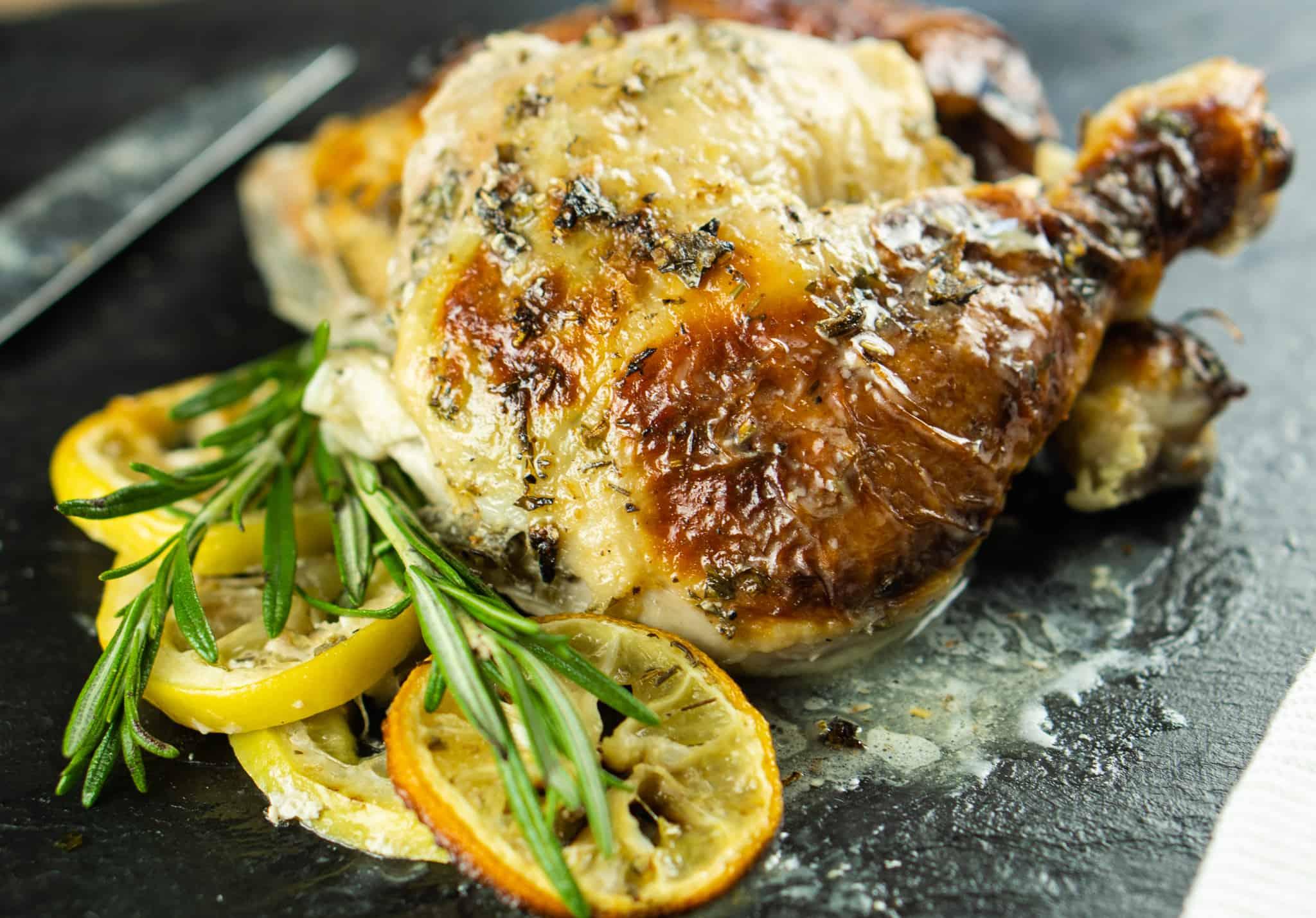 Gluten Free Roasted Buttermilk Chicken with Fresh Herbs & Lemon