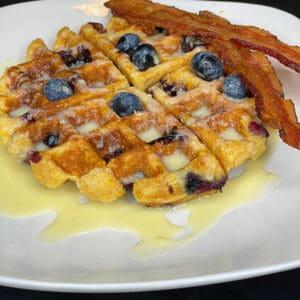 Gluten-Free-Blueberry-Belgian-Cornbread-Waffle-with-Sweet-Buttermilk-Cream-Sauce