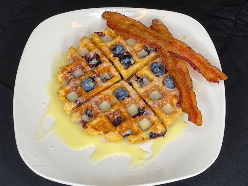 Gluten Free Blueberry Belgian Cornbread Waffle with Sweet Buttermilk Cream Sauce